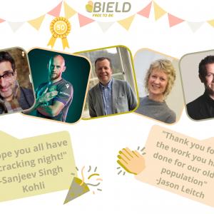 Social care PR photography, Bield celeb messages success graphic.