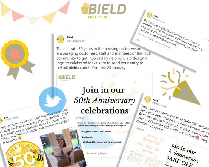 Social care PR photography, Bield digital success graphic.