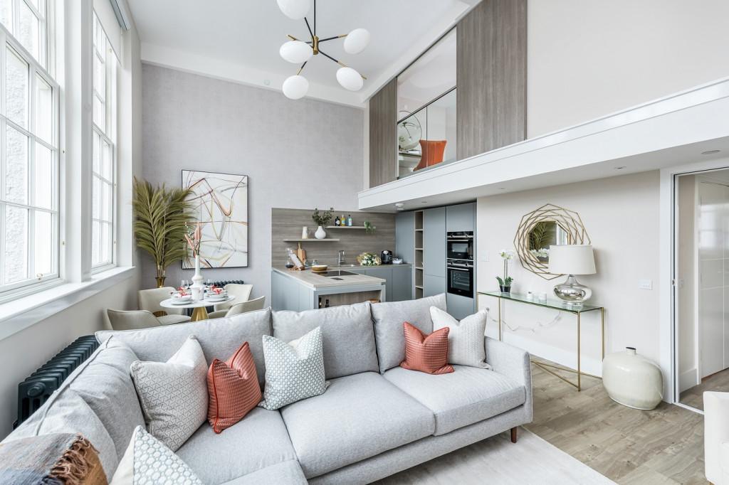 Property PR photography, Boroughmuir showhome living and mezzanine, CALA Homes (East).