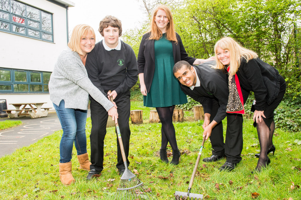 Pupils at Woodlands Special School with Gardening Equipment Donated by CALA Homes