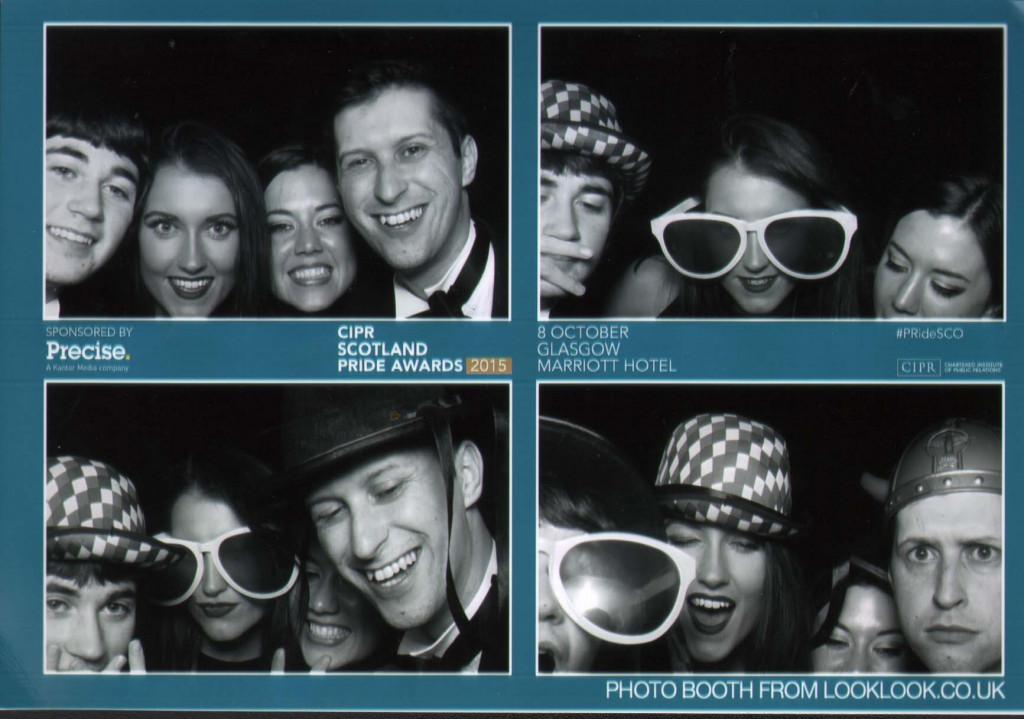Staff with award winning PR agency Holyrood PR celebrate at the 2015 CIPR Scotland PR awards