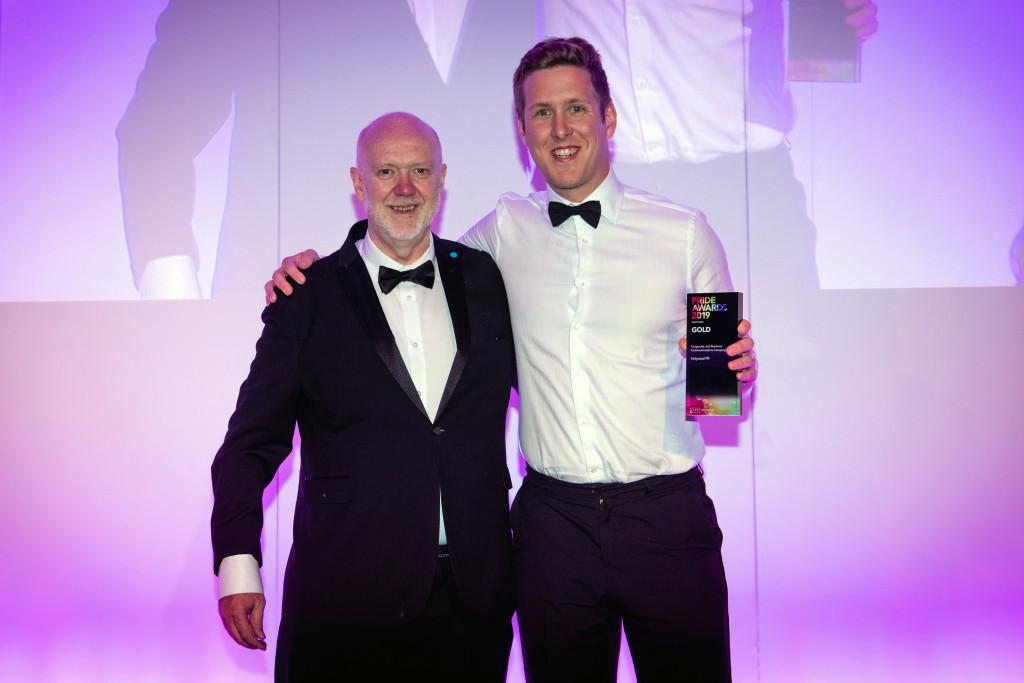 PR photograph of Holyrood PR Account Director Chris Fairbairn and Mike Kelly, Sales Director at Kantar at CIPR PRide Awards 2019