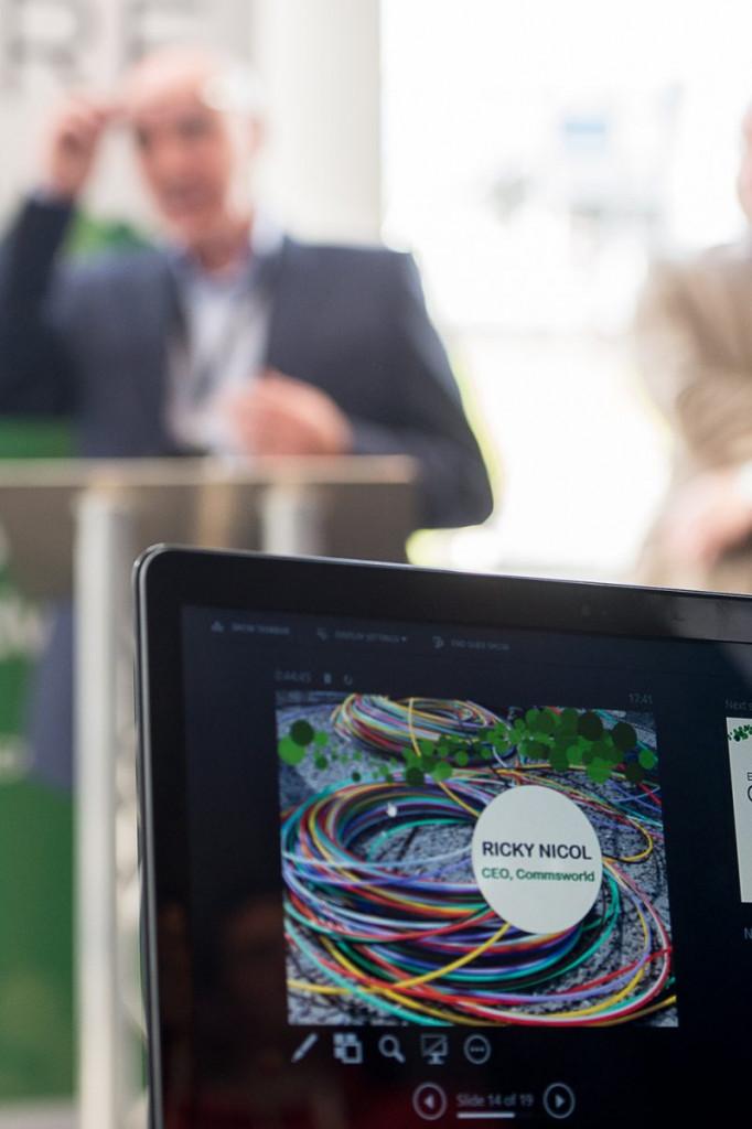 A tech PR photo of a laptop screen, taken at CityFibre and Commsworld launch event