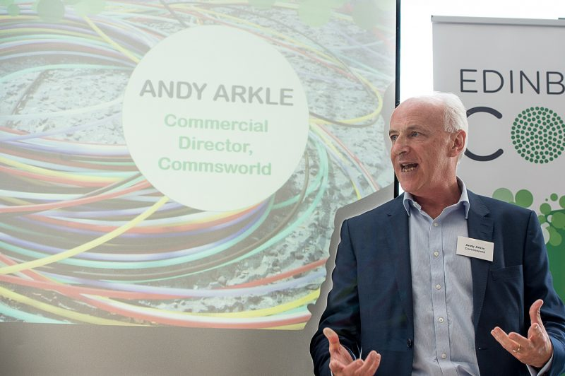 Andy Arkle, Commercial Director at Commsworld, captured in a tech PR photo at the CityFibre and Commsworld launch event in Edinburgh