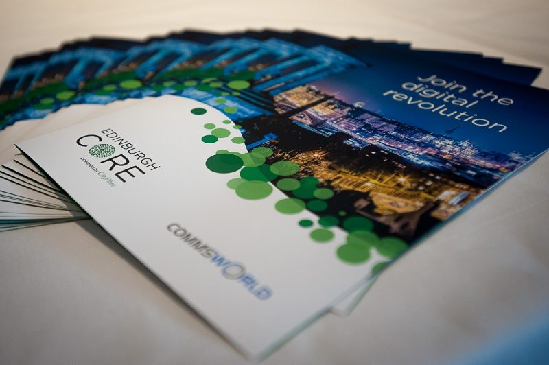 Brochures displayed in a tech PR photo at Cityworld and Commsworld launch event