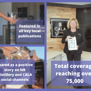 Graphic to illustrate NB Distillery coverage success post for CALA Homes