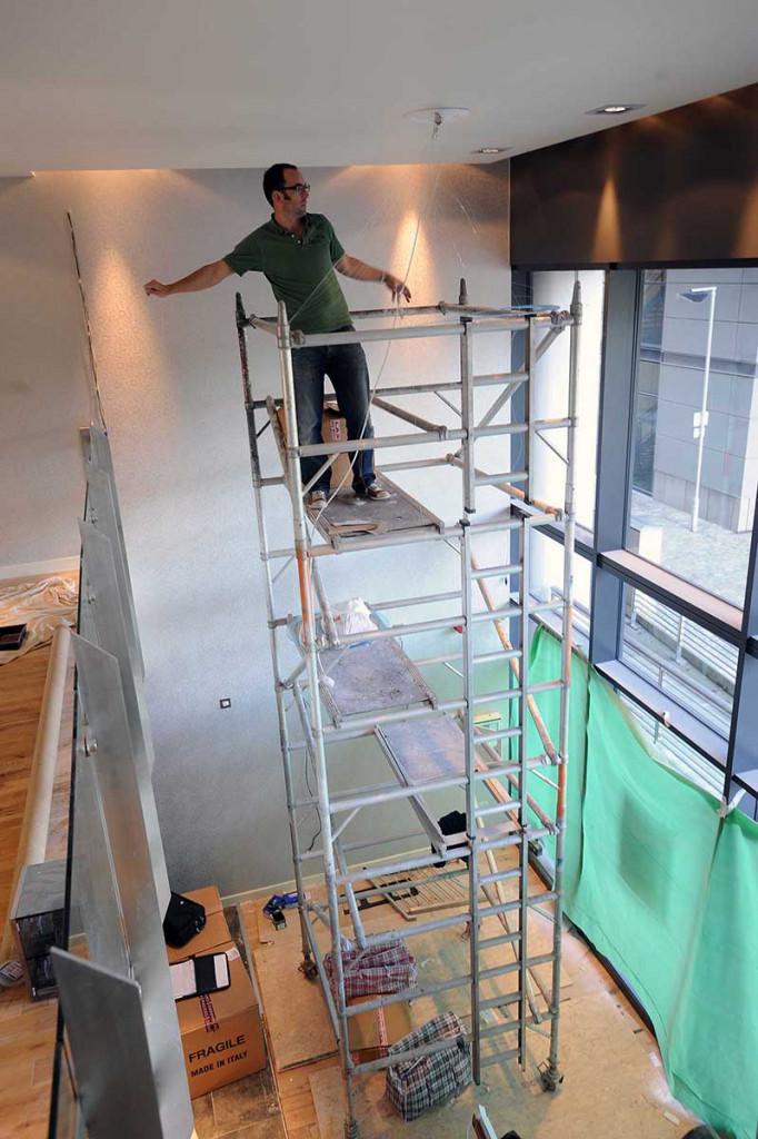 Craftsman chandelier maker a work in Edinburgh style bar