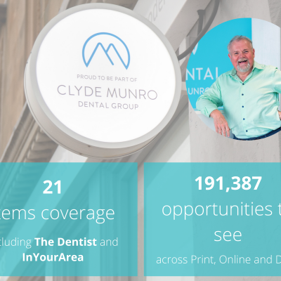 Health PR success post graphic by public relations expert Holyrood PR of lockdown dental treatments with Clyde Munro Dental Group