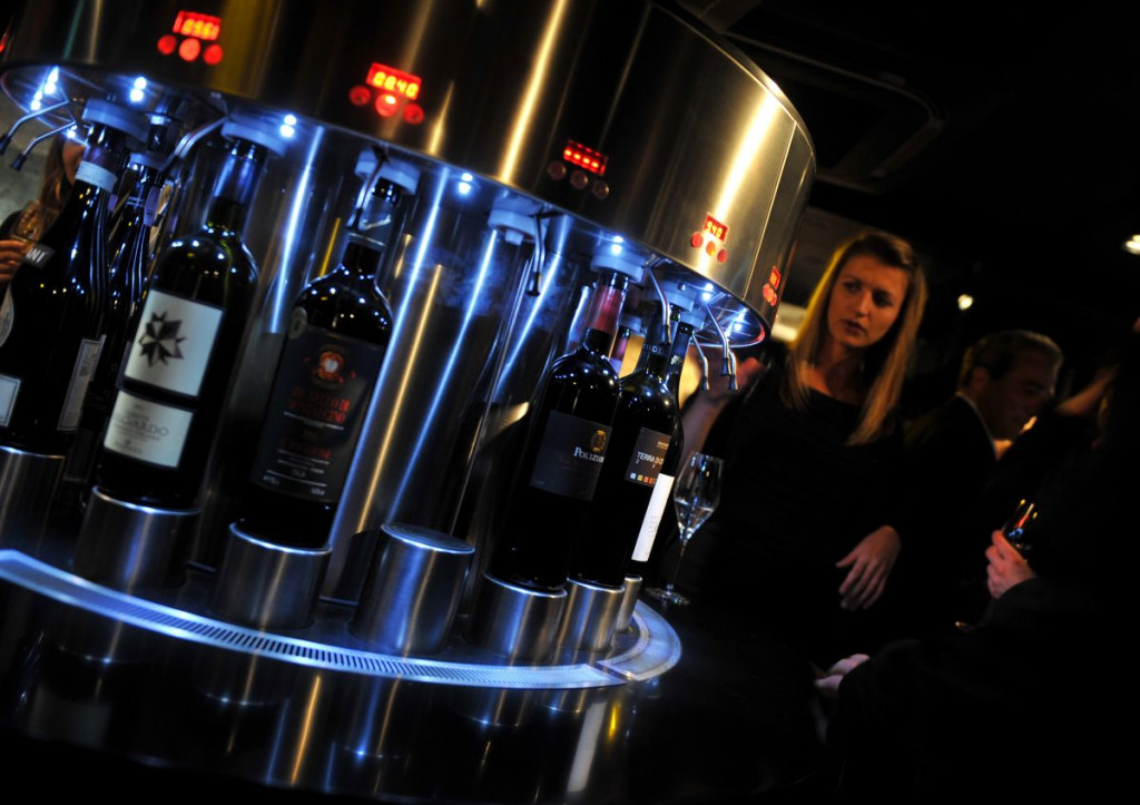 PR in Scotland Four state-of-the-art dispensers at Divino Enoteca are pictured in a food and drink PR image at the launch of the wine bar