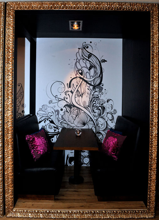 One of the quirky picture frame private booths at style bar Hyde Out in Edinburgh