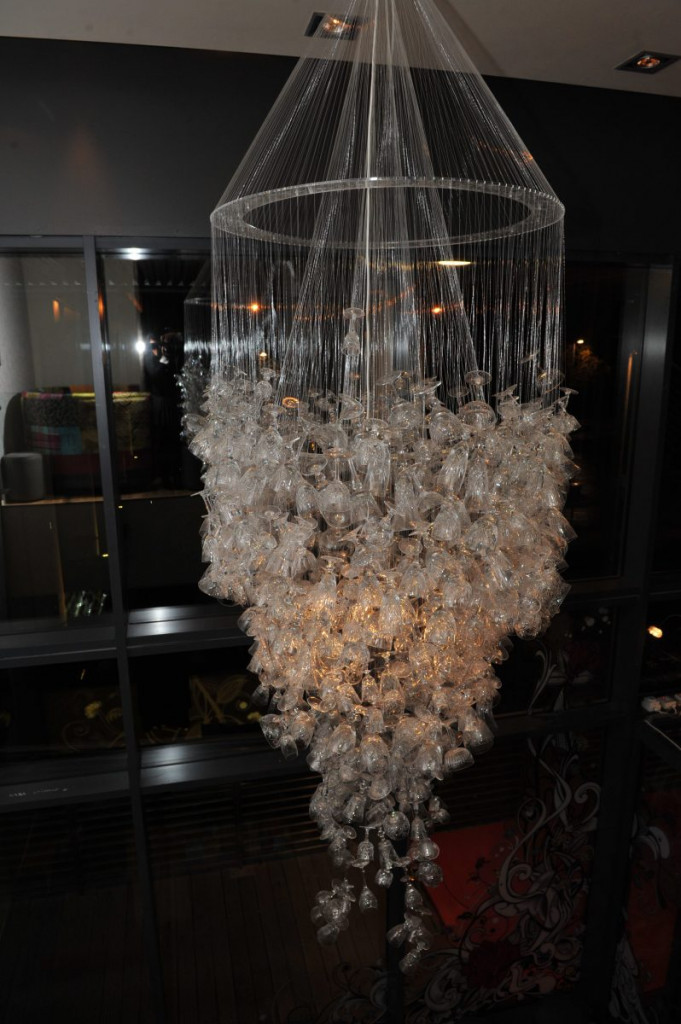 Wine glass chandelier at Hyde Out