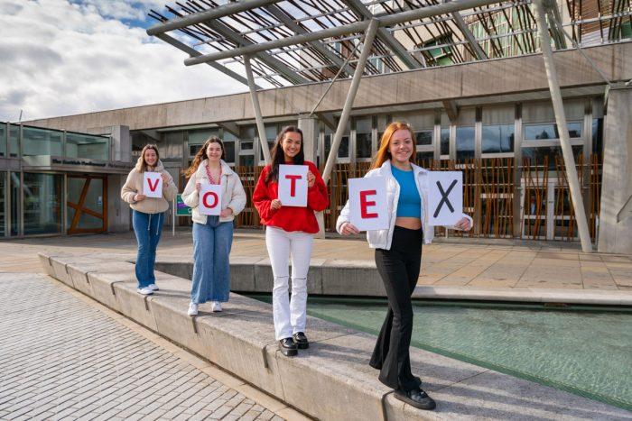 PR photography, Lara and friends posing for The Edinburgh Reporter.