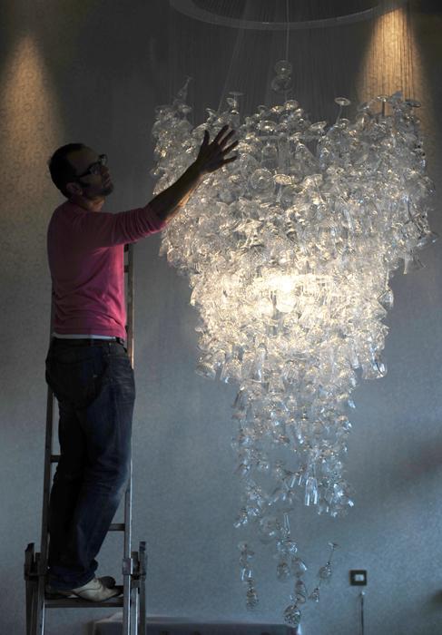 Craftsman and wine glass chandelier