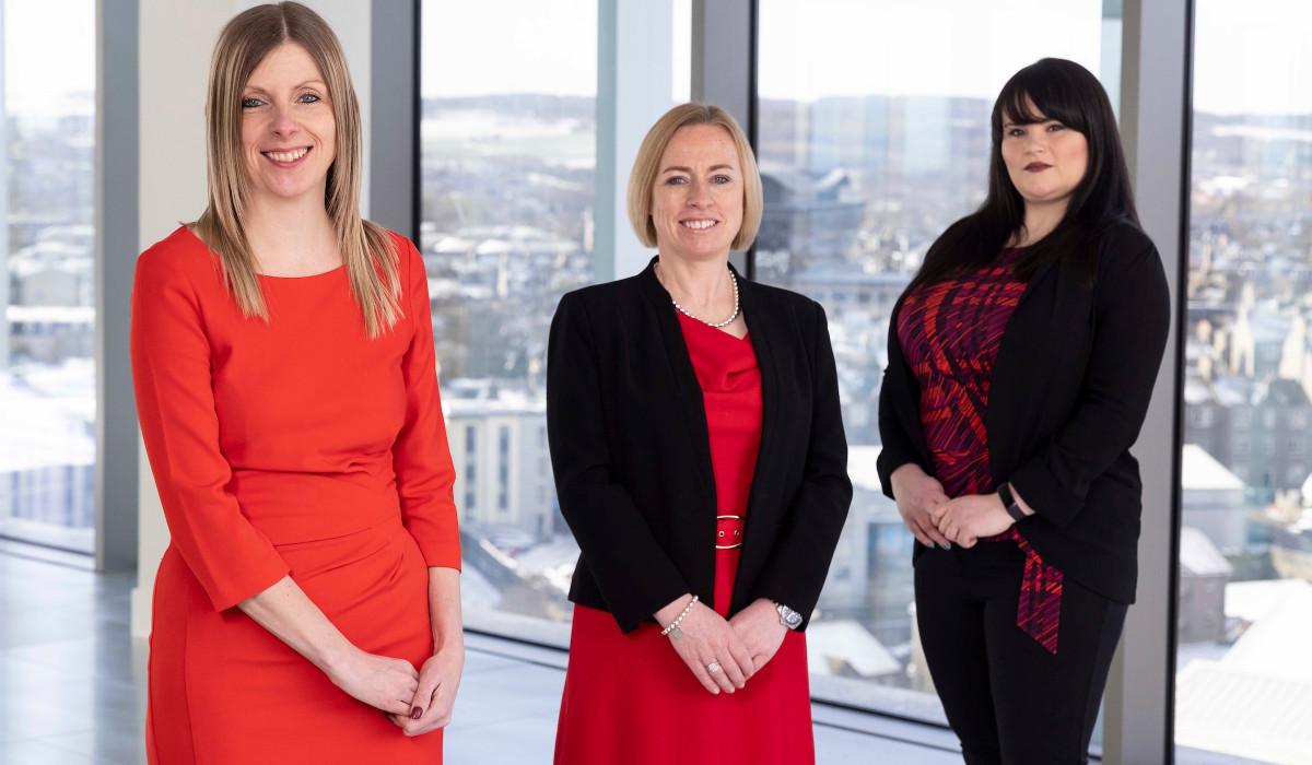 Legal PR photography, L-R Joni Esson, Lynn Nesbitt, Shari O'Hare. Moray Group.