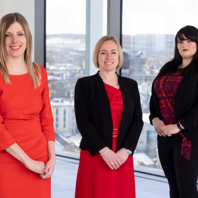 Legal PR photography, L-R Joni Esson, Lynn Nesbitt, Shari O'Hare. Moray Group.
