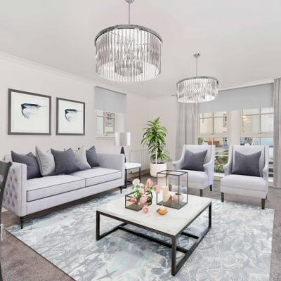 Property PR photography, Living room at The Walled Gardens.