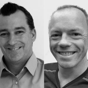 Black and white image of Conor Pittman and Kenny McNally of Allan Murray Architects, which has just become Scotland's latest employee owned business