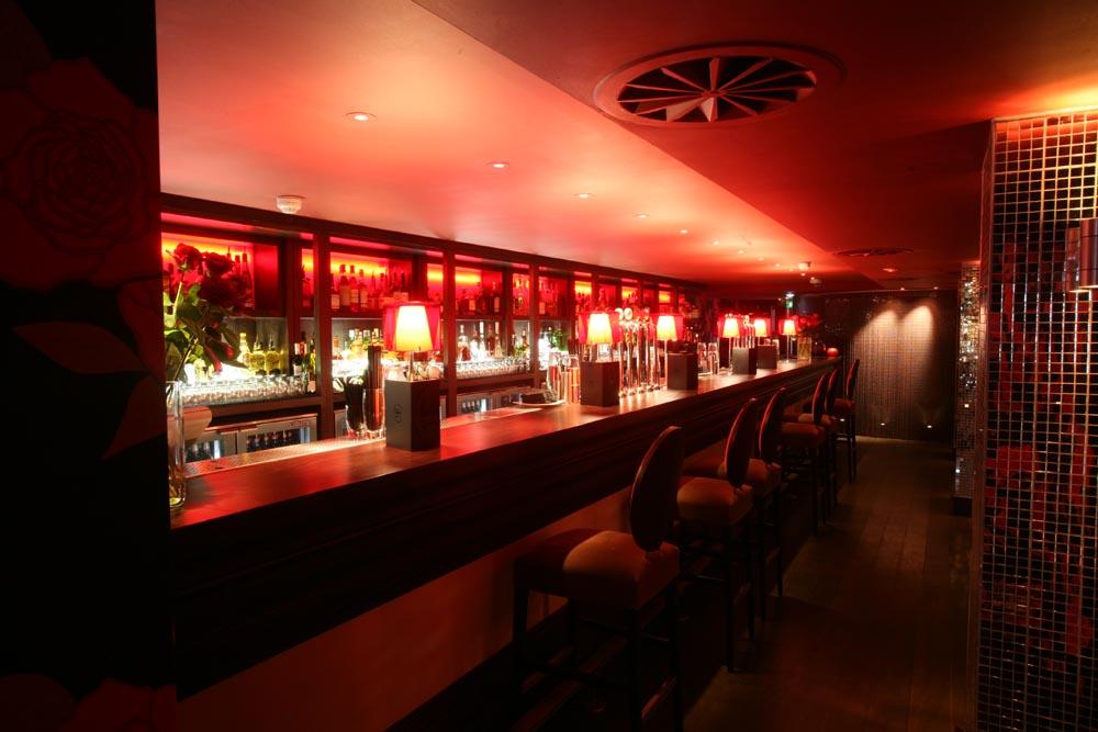 Hotel PR photograph of eclectic Lulu bar underneath Tigerlily Edinburgh