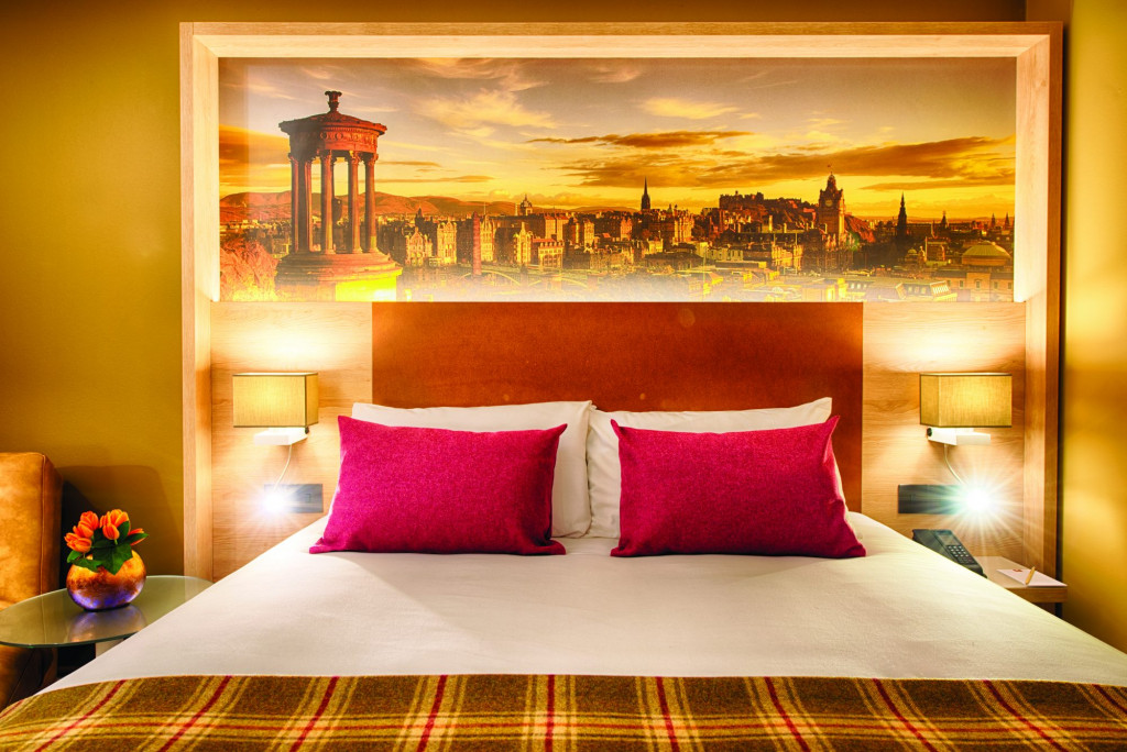 A bedroom at the Leonardo Royal Hotel Edinburgh