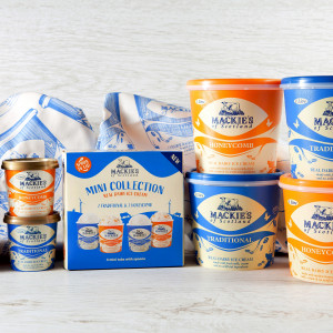 Food and Drink PR photography, Mackie's of Scotland mini collection and 1 litre tubs.