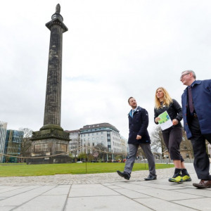 Pre covid image showing LtoR Andy Sinclair (Head of Active Scotland), Lee Craigie (Scotland's Active Nation Commissioner) and Craig McLaren (Chair of the National Walking Strategy Delivery Forum) Scottish PR for Paths for All