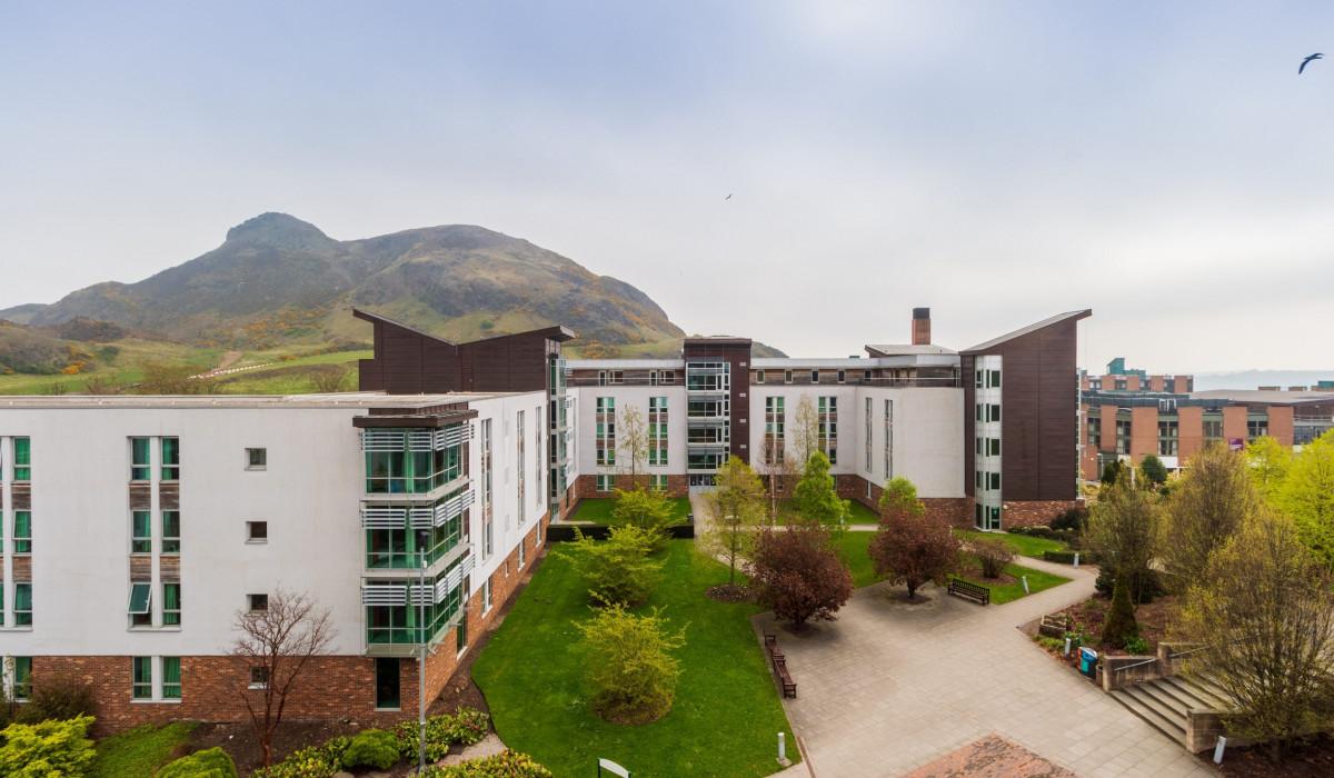 Scottish PR photography, Pollock Halls and Arthurs Seat, University of Edinburgh.