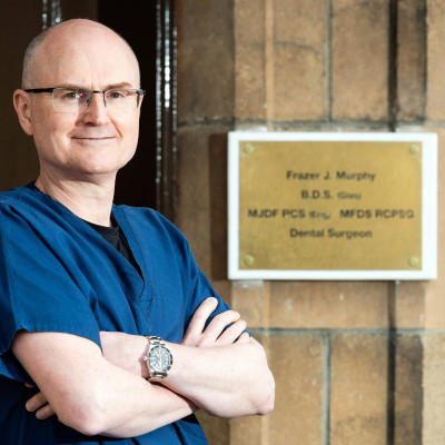 Health PR photography, principal dentist Frazer Murphy, Clyde Munro Dental Group.