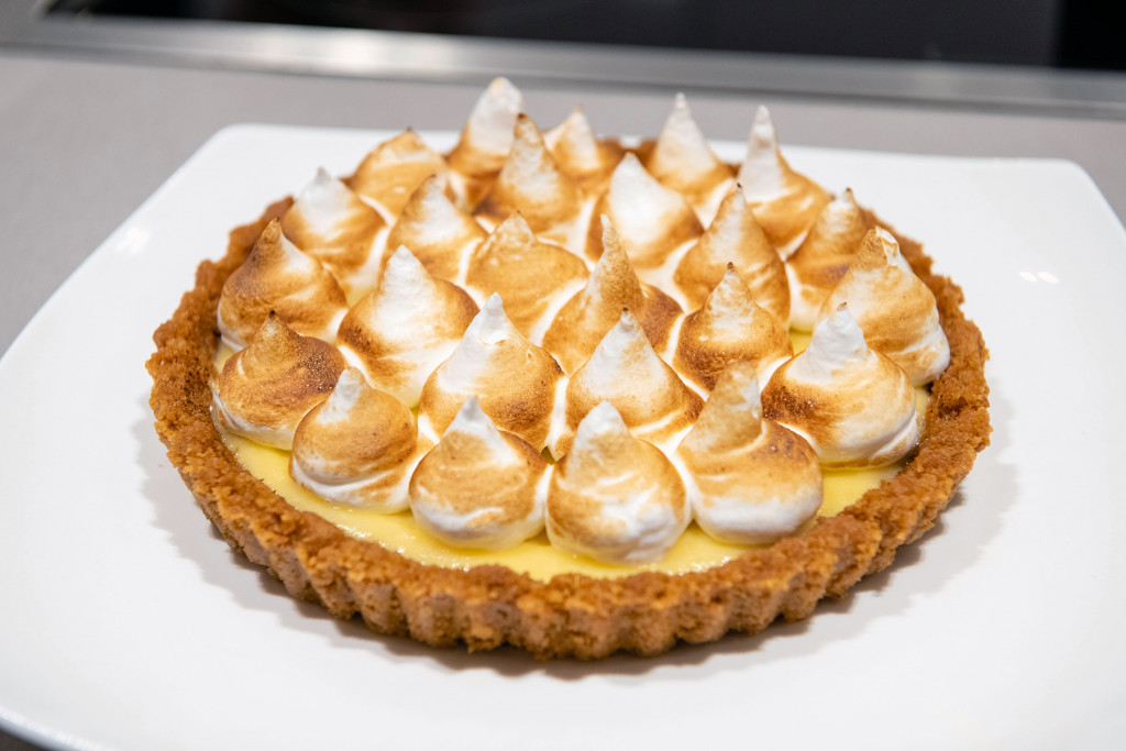 Ruby Bhogal's lemon meringue pie is pictured at an influencer event at The Crescent