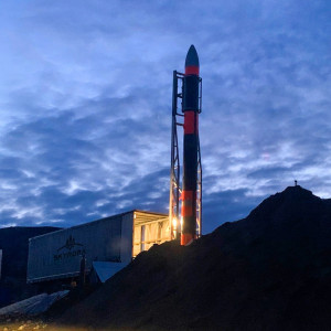 Skylark L ready to be tested at Kildermorie Estate, image takjen at night, with the rocket suspended on the mobile launching platform