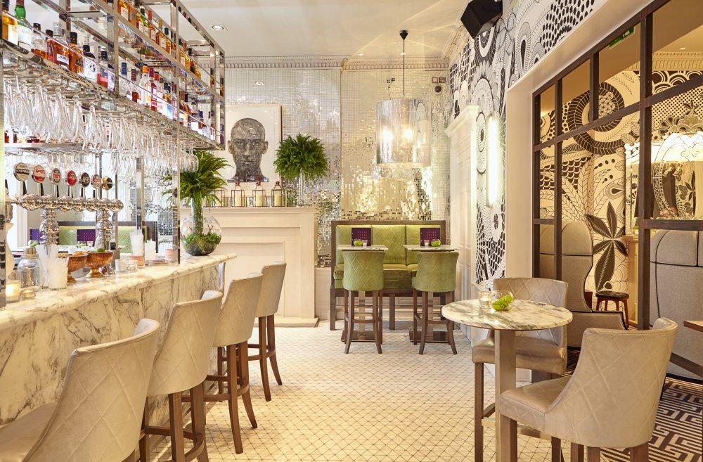 Hotel PR photograph of beautiful front bar in Tigerlily Edinburgh following a major refurbishment