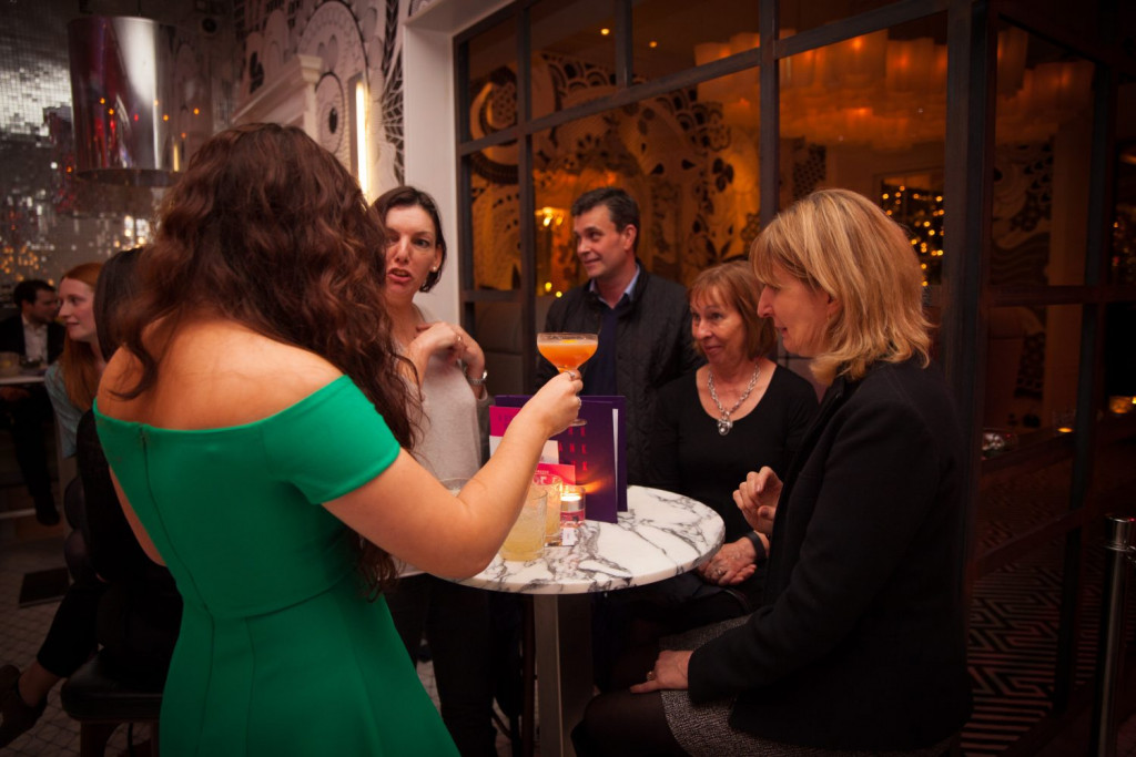 Hotel PR photograph of guests at cocktail masterclass