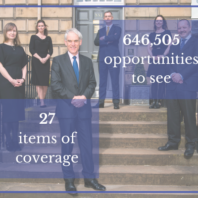 Legal PR photography, Urquharts success graphic.