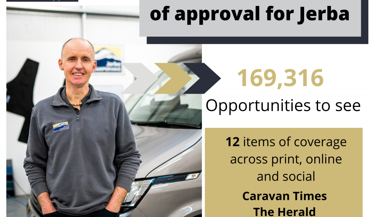 Scottish PR success post graphic on Jerba Campervans becoming officially qualified by Volkswagen Commercial Vehicles with help from Edinburgh public relations experts Holyrood PR.