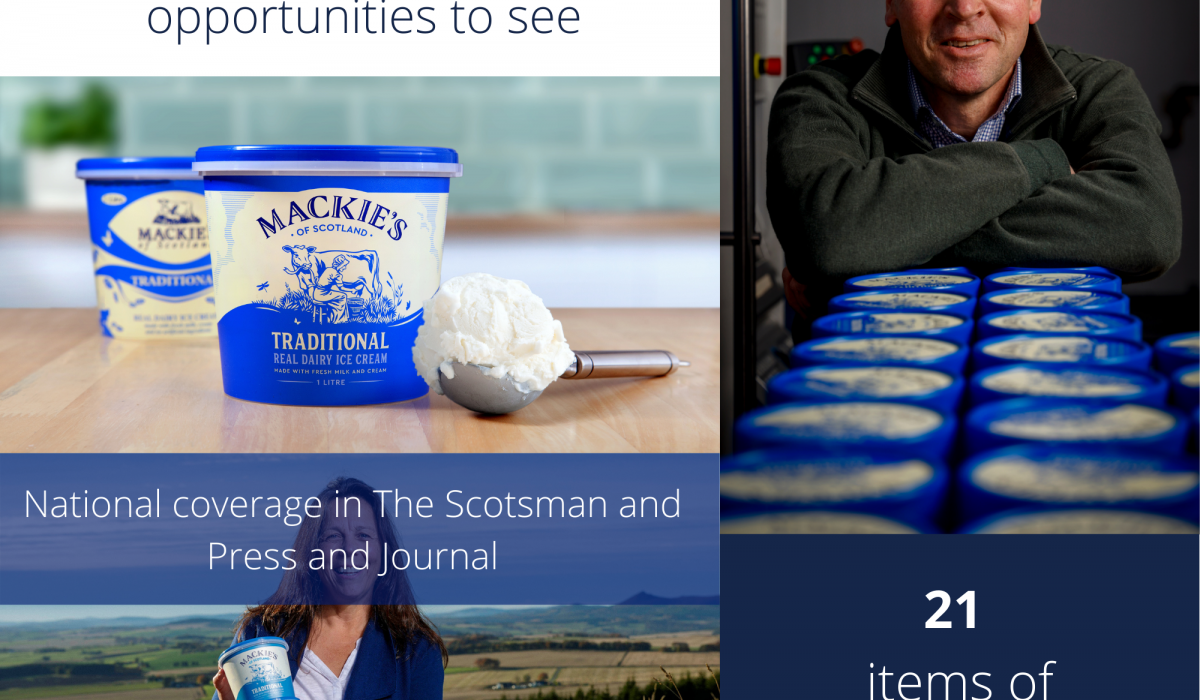 Food and Drink PR photography, graphic for Mackie's of Scotland rebrand success.