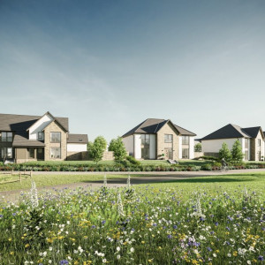 CGI image showing a street scene at CALA Homes (East)'s development at Cammo Meadows, north west Edinburgh