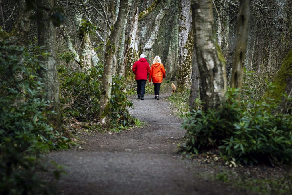 Health PR photography of people walking for Paths for All walking charity