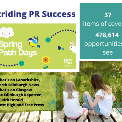 Charity PR photography, Spring Paths Days success graphic, Paths For All.