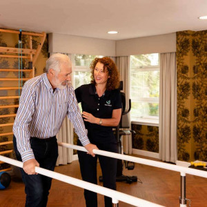 Social care PR photography, falls prevention at Cramond residence.