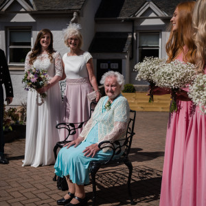 Social care PR photography, Jill Murray with family and friends at Mansfield Care's Pine Villa.