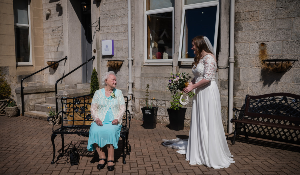 Social care PR photography Jill Murray with family and friends at Mansfield Care's Pine Villa.
