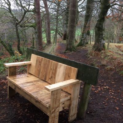 Scottish PR photography, Sandford in Bloom bench, Banks Renewables.