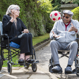 Social Care PR Photography captures Mansfield Care, Pine Villa, Loanhead residents participating in their activities afternoon including using the new sports table. Pictured Sandra Wood and Charles Davis-Cole